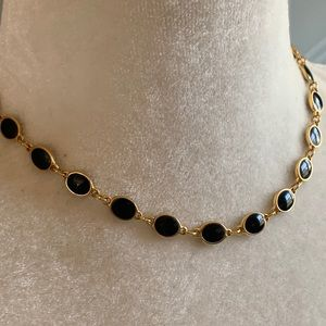Goldette Gold Tone & Black Inlay Choker Necklace
